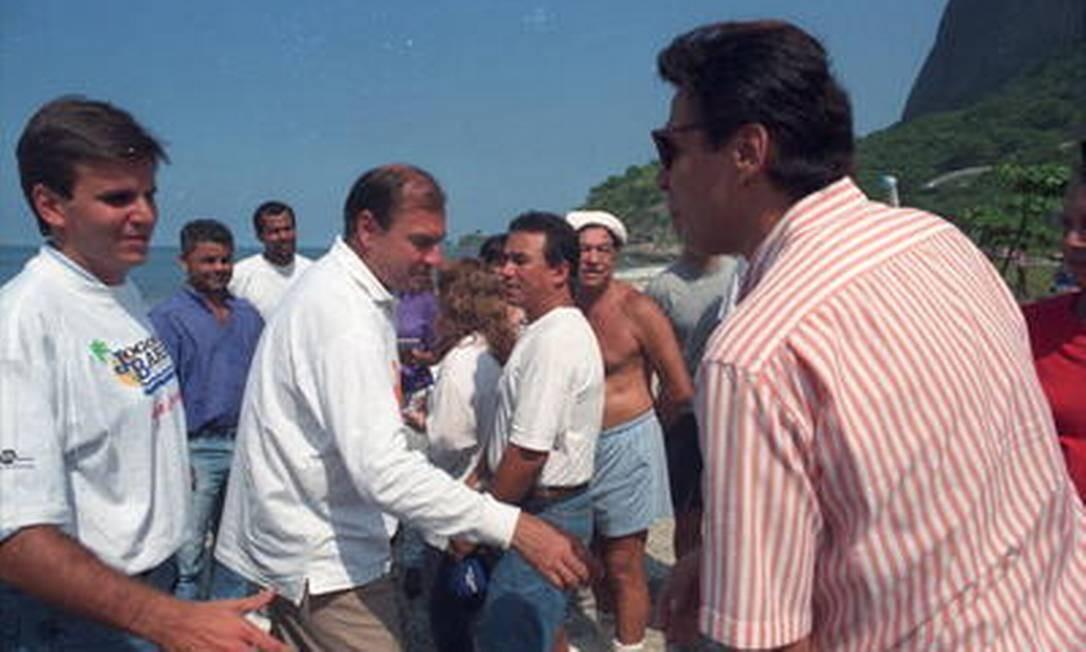 Eduardo Paes (esq.) e Cesar Maia, em 1993: aliados políticos Agência O Globo / Chiquito Chaves 17.04.1993