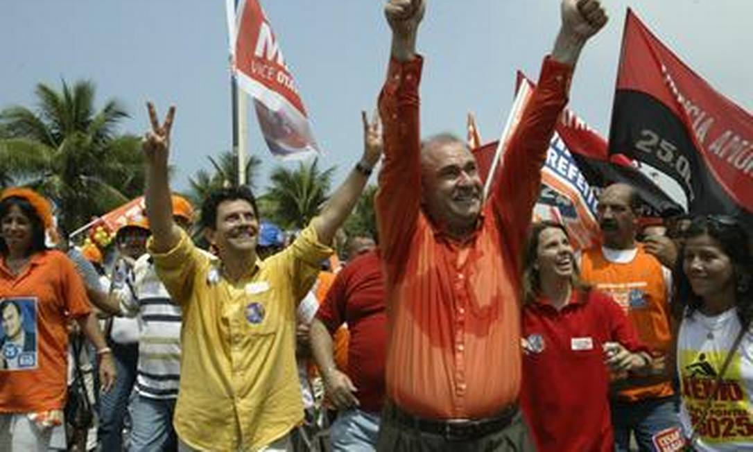Otavio Leite e Cesar Maia, na campanha de 2004 O Globo / Ana Branco 26.09.2004