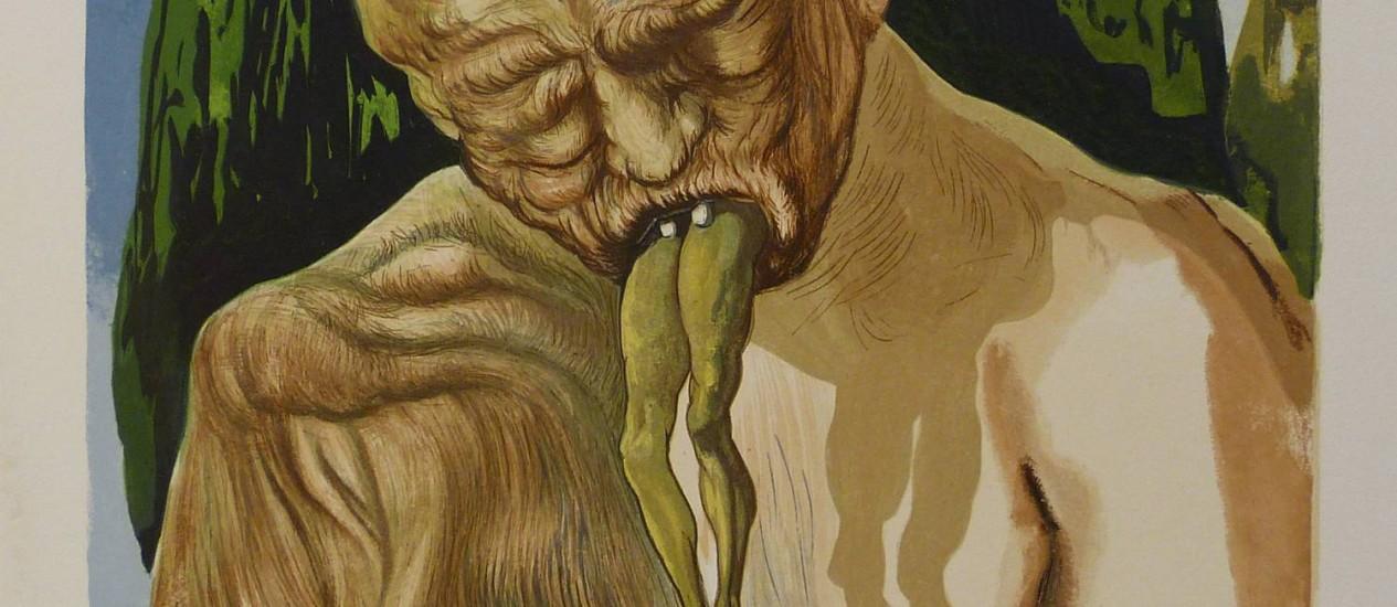 A obra 'Canto XXVII: Um diabo lógico', de Salvador Dalí, em mostra na Caixa Cultural Foto: Divulgação