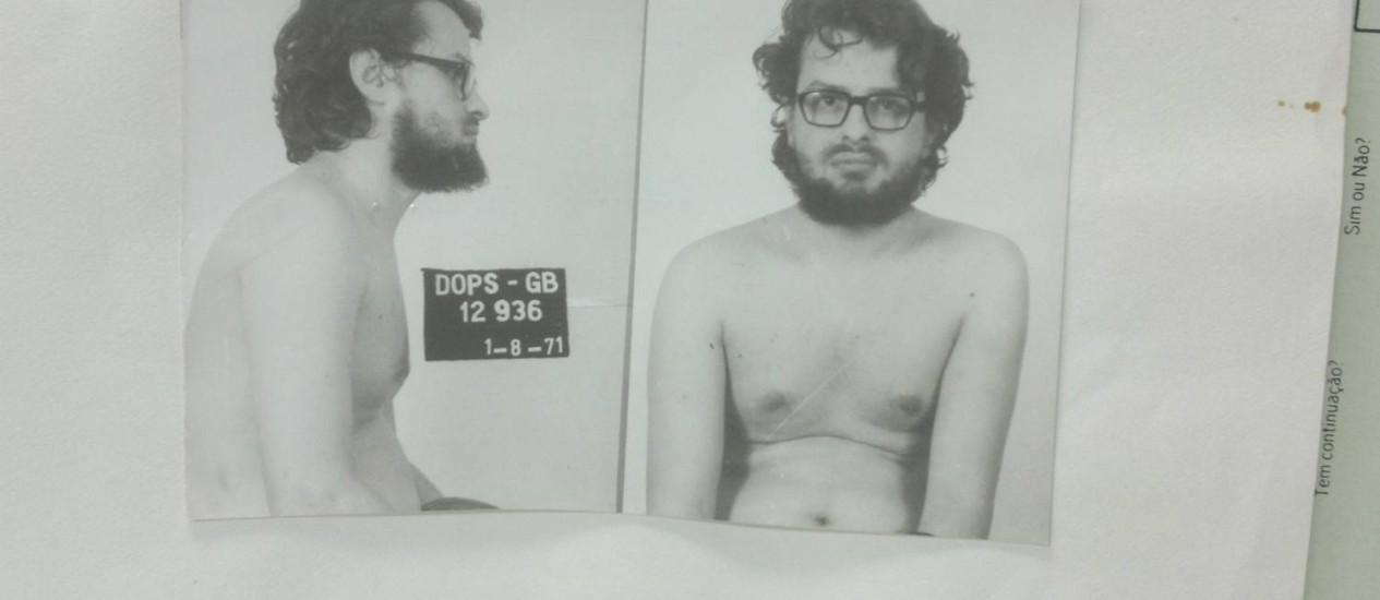 Raul Amaro ainda vivo após a prisão em agosto de 1971; ele morreu em decorrência de torturas no DOI-Codi Foto: Arquivo Nacional