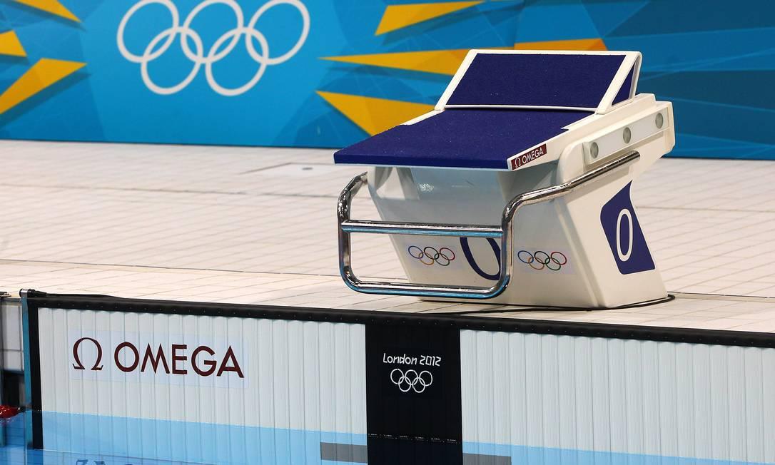 No detalhe, um dos blocos de partida que receberá os melhores nadadores do mundo O Globo / Ivo Gonzalez