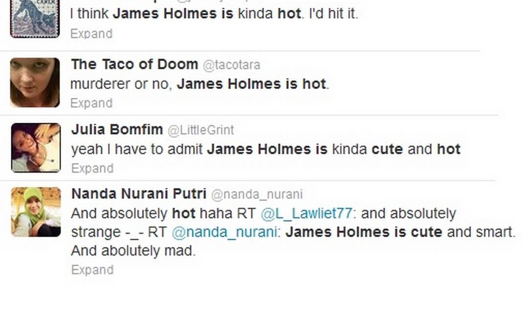 Exemplos de comentários elogiosos a James Holmes nas redes sociais Foto: Internet / Twitter