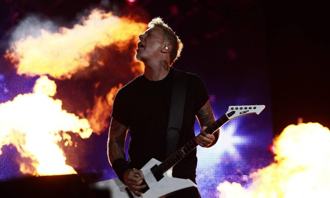 James Hetfield, vocalista e guitarrista do Metallica, no último Rock in Rio, em 2011 Foto: Leonardo Aversa / Agência O Globo