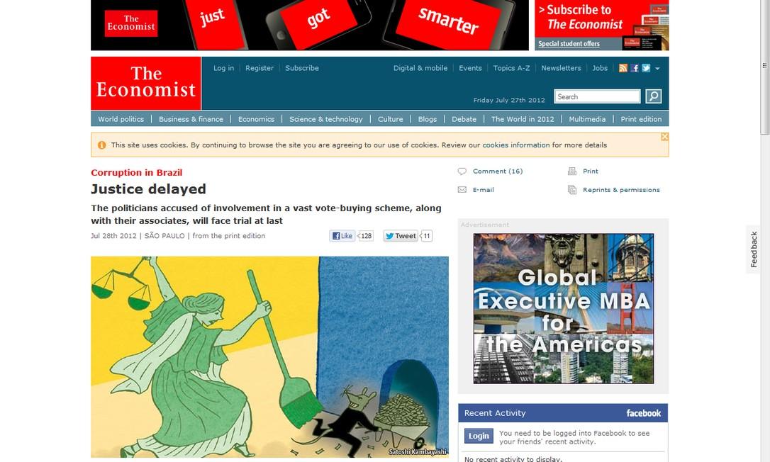 Matéria publicada na versão eletrônica da revista inglesa 'The Economist' Foto: Reprodução