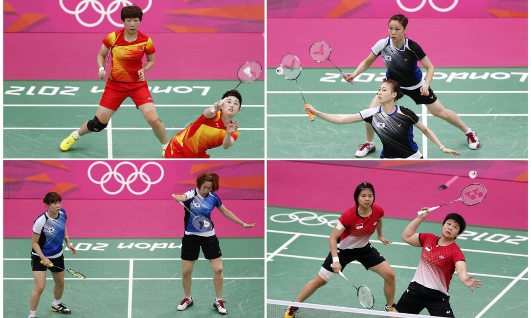 Montagem mostra as quatro duplas de jogadoras expulsas dos Jogos de Londres por entregar resultados. As atletas são as chinesas Wang Xiaoli e Yang Yu, as sul-coreanas Jung Kyung Eun e Kim Ha Na, as indonésias Greysia Polii e Meiliana Jauhari e as sul-coreanas Ha Jung-eun e Kim Min-jung Foto: Bazuki Muhummad / Reuters