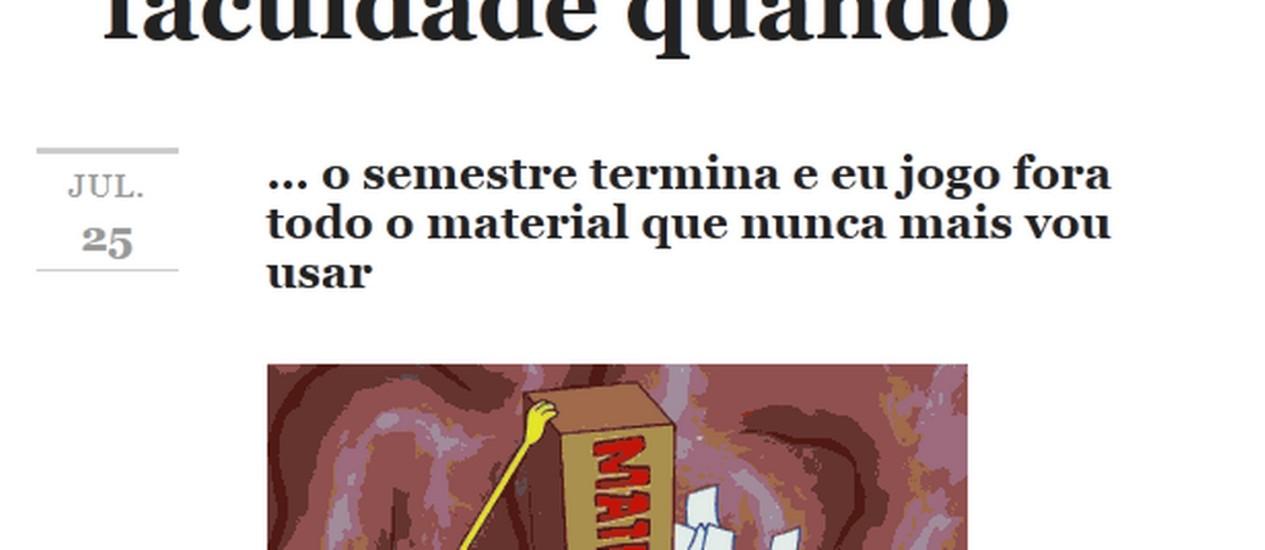 """Bob Esponja joga folhas no lixo em uma das situações retradas no tumblr """"Como eu me sinto na faculdade quando"""" Foto: Reprodução"""