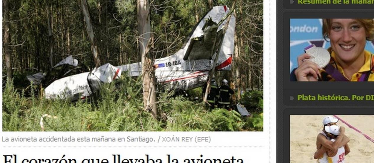 Avião que transportava coração cai em Santiago de Compostela, na Espanha Foto: Reprodução/El País