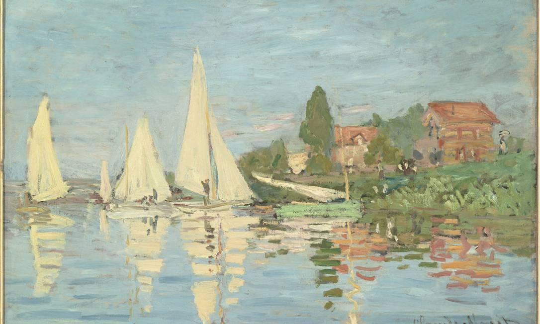 """Outro trabalho de Monet, """"Regatas em Argenteuil"""", também na mostra Divulgação"""