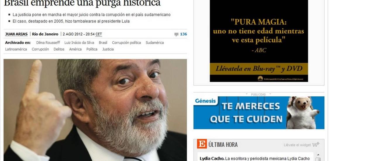 "Jornal espanhol ""El País"" Foto: Reprodução"