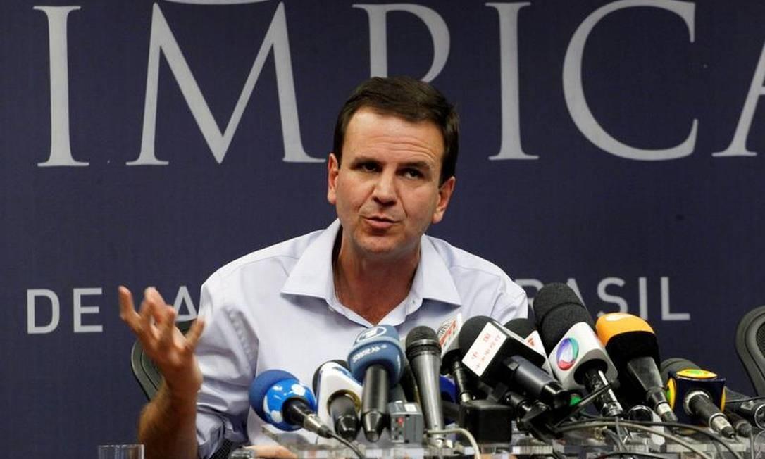 O prefeito Eduardo Paes (PMDB), candidato à reeleição: 49% das intenções de voto Foto: Marcelo Piu / O Globo