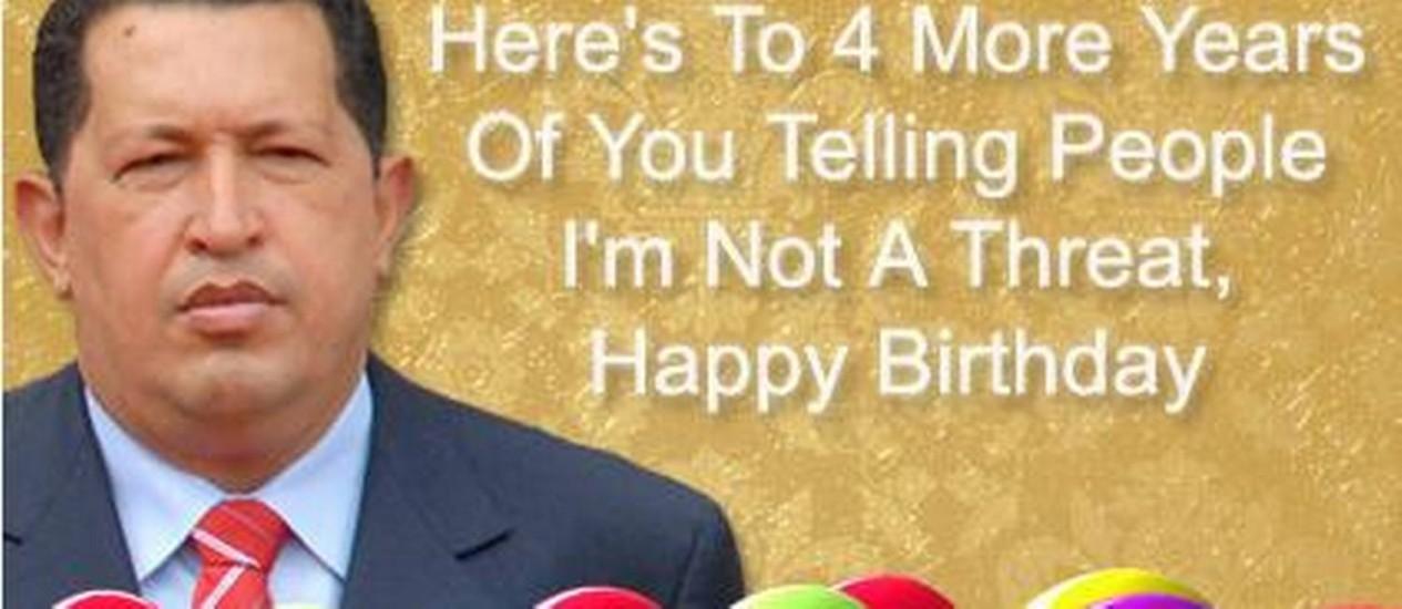 O fictício cartão de Hugo Chávez a Obama pelo seu aniversário Foto: Reprodução