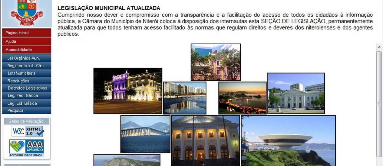 Reprodução da página eletrônica que, por enquanto, está hospedando a legislação municipal Foto: Reprodução da internet
