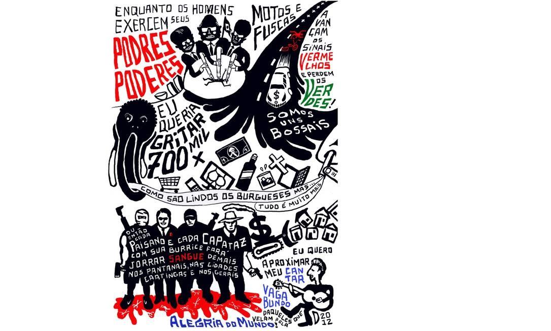 """Com estilo mais irônico e verborrágico, o designer e ilustrador Carlos D se inspirou na letra da música """"Podres poderes"""", de Caetano Veloso, em uma das últimas ilustrações publicadas na página do Facebook """"Fuçalivro"""" (facebook.com/fucalivro), a galeria virtual onde publica seus trabalhos. Foto: Divulgação"""