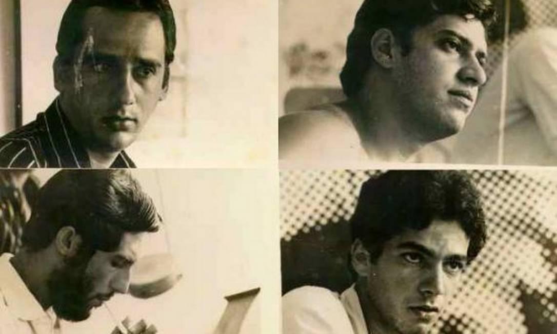 Registro do grupo MPB4, com Magro abaixo, à esquerda, feito em 1966 Foto: Reprodução