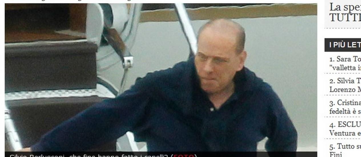 Il Cavaliere desembarca careca na costa italiana: ex-primeiro-ministro é um dos políticos europeus mais vaidosos da atualidade Foto: Reprodução/Oggi