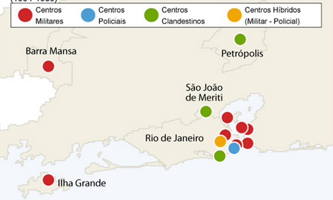 Mapa da repressão no Estado do Rio Foto: Editoria de Arte