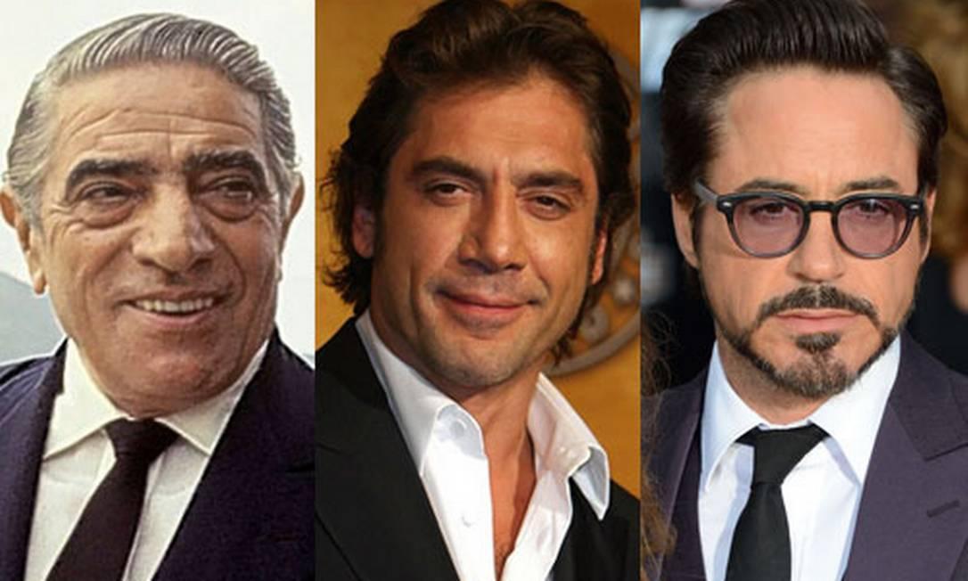 Aristóteles Onassis (à esquerda) pode ser vivido por Javier Bardem ou Robert Downey Jr. Foto: Fotomontagem