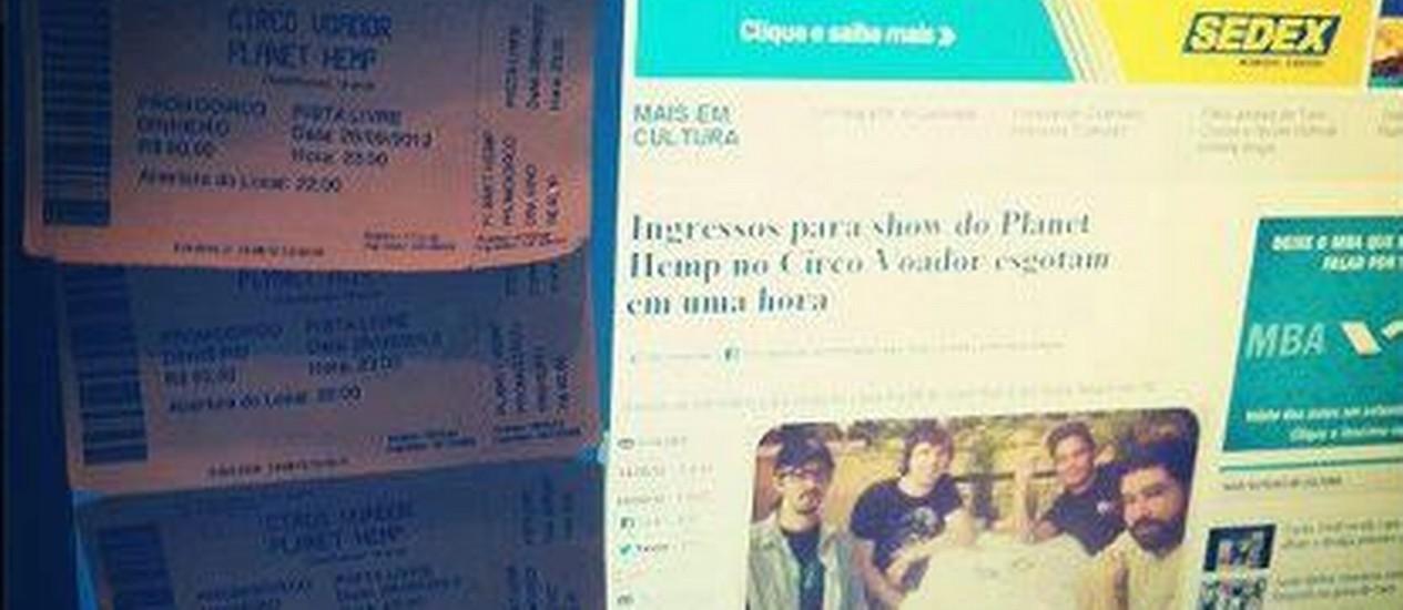 Imagem de ingressos sendo revendidos rodou redes sociais Foto: Reprodução de internet