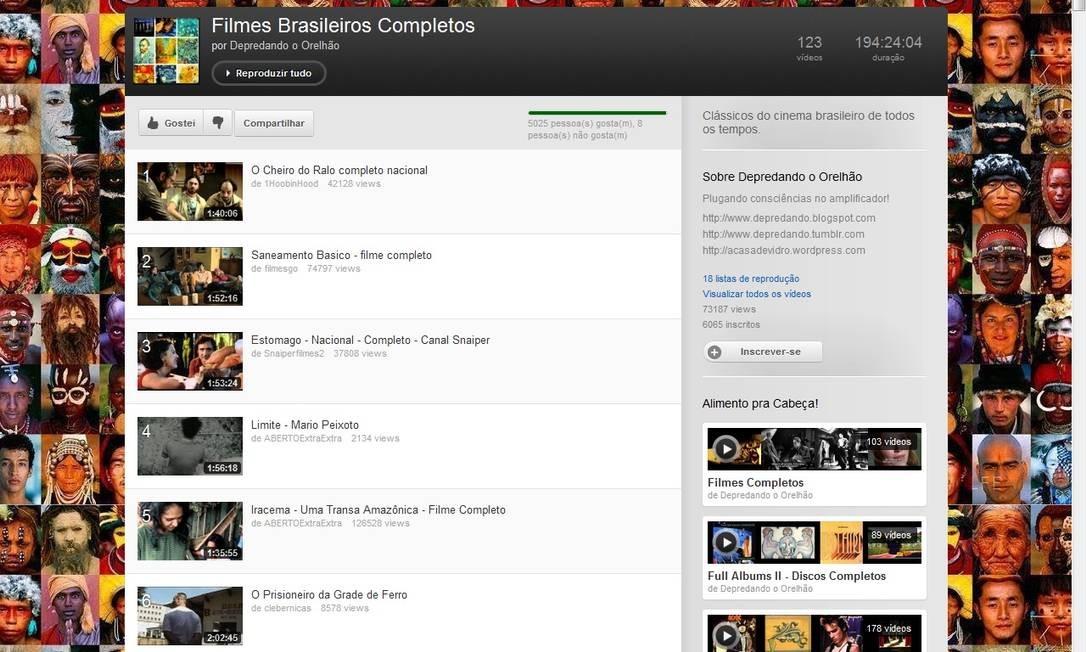 Página do canal 'Filmes brasileiros completos', no YouTube Foto: Reprodução