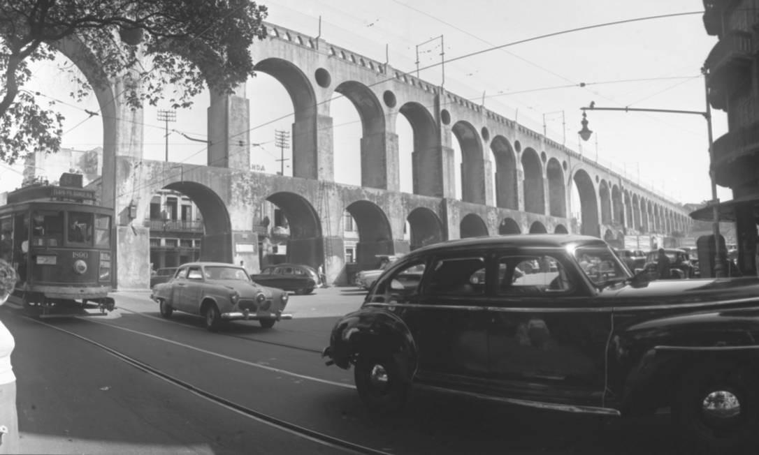 Os Arcos da Lapa em foto de 1962 Foto: Arquivo O GLOBO
