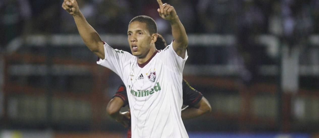 Samuel comemora o único gol da partida entre Fluminense e Sport Foto: Divulgação / Dhavid Normando / Photocamera