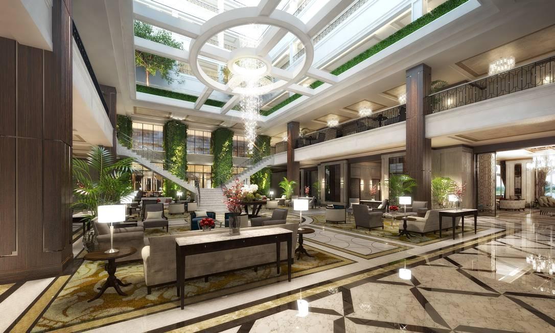 O lobby do hotel, que terá ainda duas suítes presidenciais, com 300 metros quadrados cada Foto: Divulgação