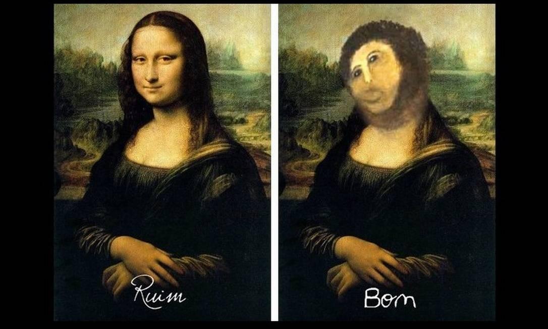 """A Mona Lisa, de Leonardo Da Vinci, também foi """"restaurada"""" nas redes sociais Foto: Reprodução"""
