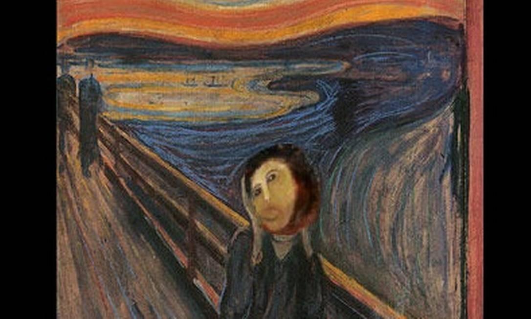 'O Grito', pintura de Edvard Munch, com o rosto do Cristo de Borja Foto: Reprodução da internet