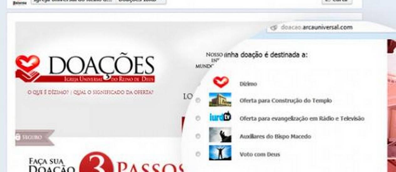 Igreja Universal inaugura sistema de doações via Facebook Foto: Reprodução de internet