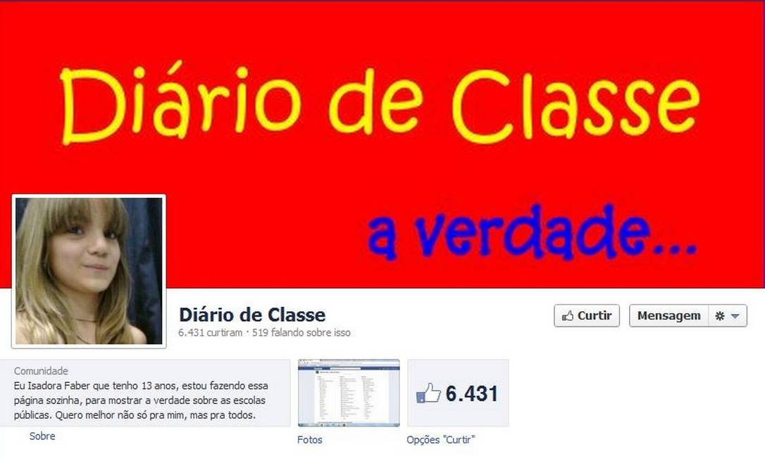 Página de Isadora Faber no Facebook onde denuncia problemas da escola onde estuda Foto: Reprodução