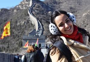 A estudante da PUC-Rio Christine Duarte passou um mês estudando na China Foto: Arquivo Pessoal