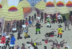 Uma das seis telas da obra que retrata a vinda de escravos da África para o Brasil (2005), do pintor naïf R. Ozias Foto: Luiz Vieira / Agência O Globo