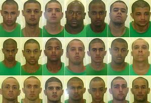 Os 21 torcedores do Fluminense detidos na semana passada Foto: Divulgação / Seap