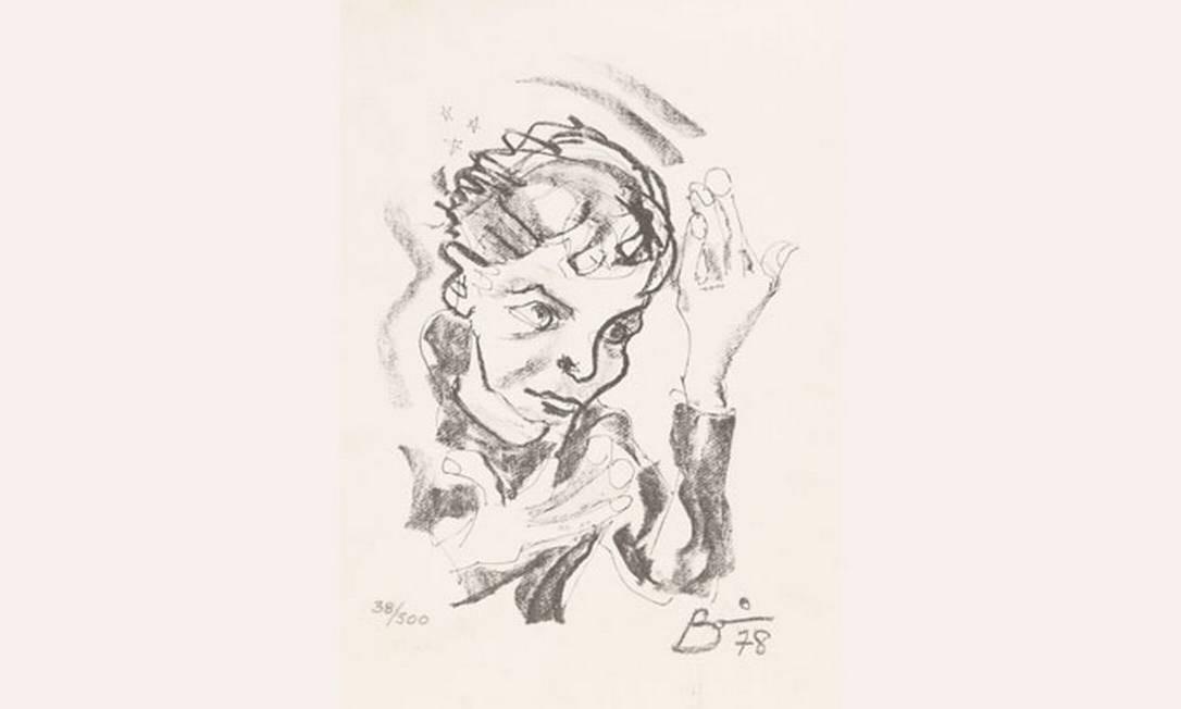 Autorretrato de Bowie inspirado na foto da capa de 'Heroes', álbum de 1978 Foto: Divulgação