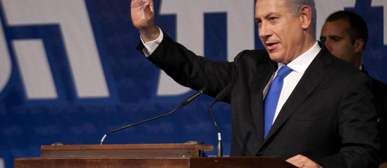 O premier israelense Benjamin Netanyahu durante discurso em Tel Aviv em maio deste ano Foto: AFP PHOTO / JACK GUEZ