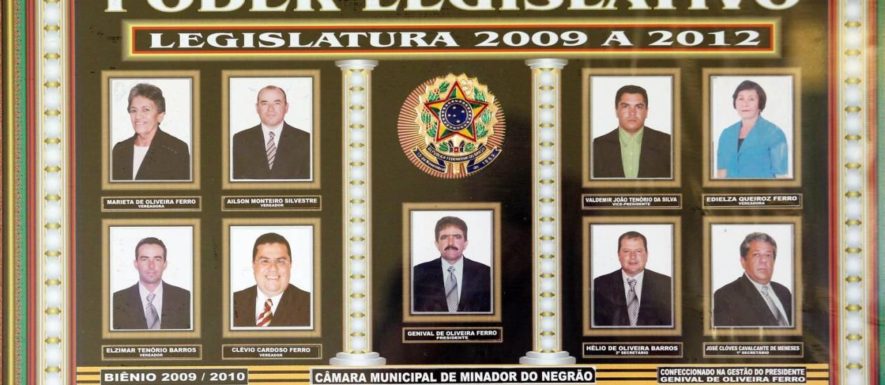 Placa com as fotos do veriadores da Câmara Municipal Foto: Agência O Globo / Gustavo Miranda