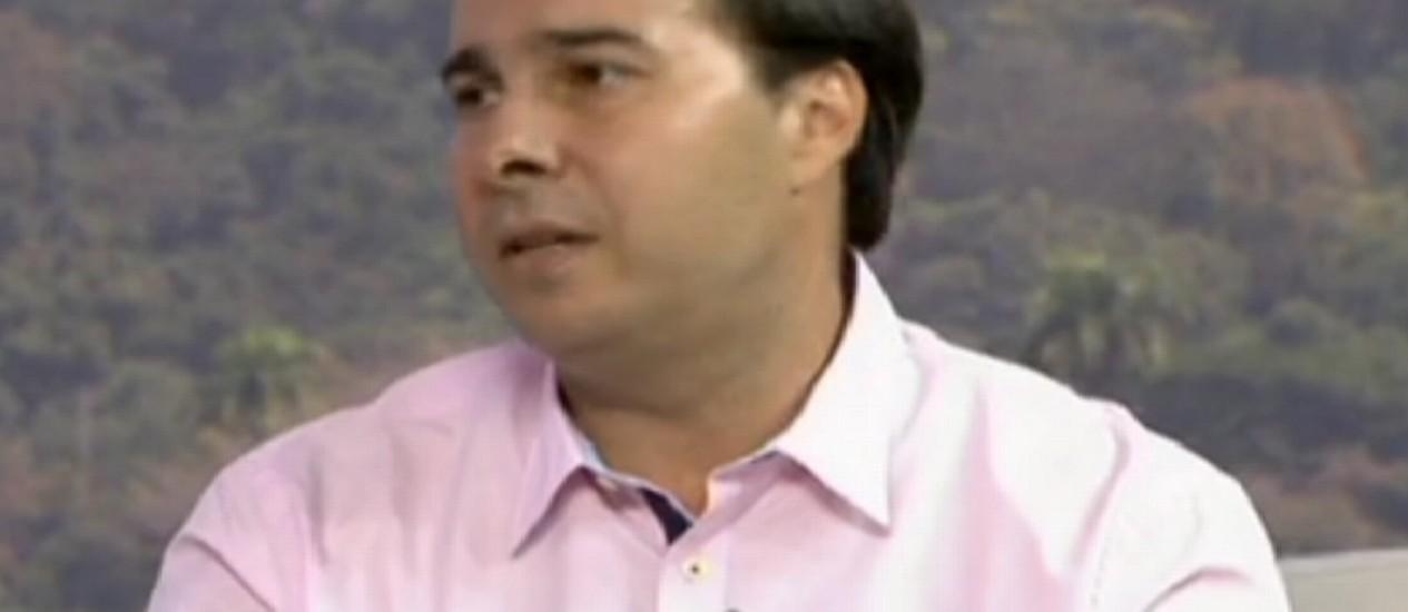O candidato do DEM, Rodrigo Maia, durante entrevista ao RJTV Foto: Reprodução