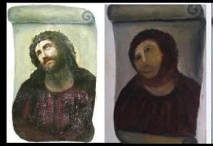 A restauração do Cristo de Borja e a imediata transformação em meme Foto: Reprodução