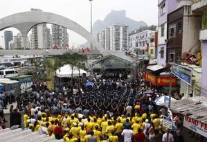 Parte dos 700 policiais que vão atuar na UPP da Rocinha participou da inauguração da unidade nesta quinta-feira Foto: Pablo Jacob / O Globo