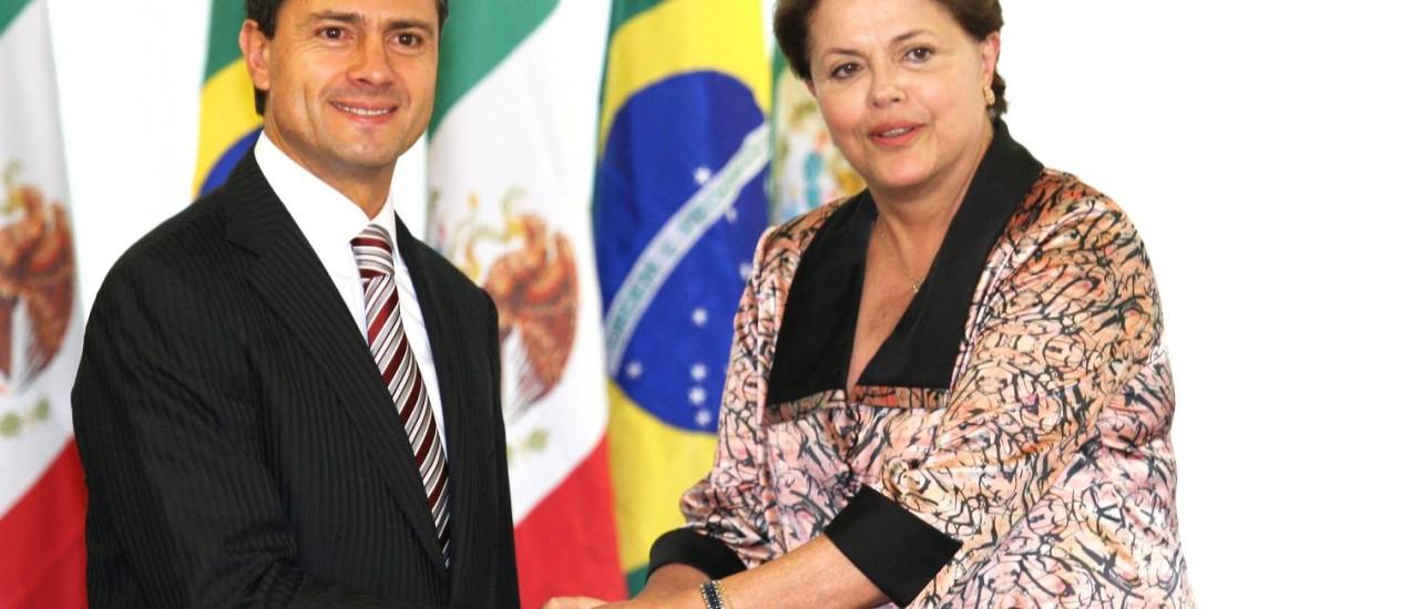 A presidente Dilma Rousseff recebe o próximo presidente mexicano, Peña Nieto: comércio bilateral domina a agenda Foto: Gustavo Miranda
