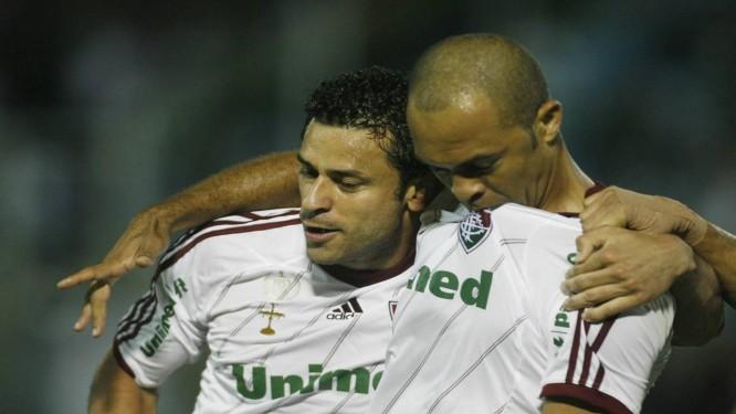 Fred e Leandro Euzébio garantiram a vitória do Fluminense em Volta Redonda Foto: Photocâmera / Divulgação