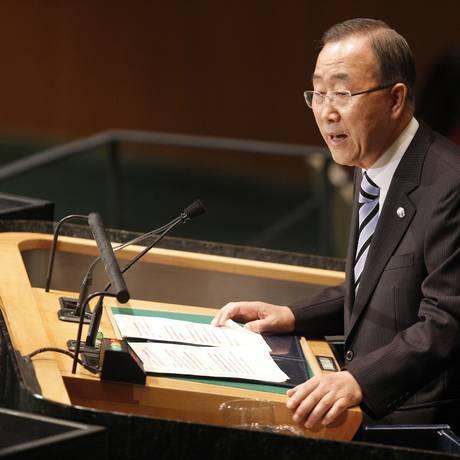 Secretário Geral da ONU, Ban Ki-moon, em discurdo na 67ª Assembleia Geral das Nações Unidas Foto: Mary Altaffer / AP