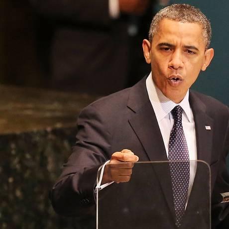 Barack Obama em discurso na 67ª Assembleia Geral da ONU Foto: Spencer Platt / AFP