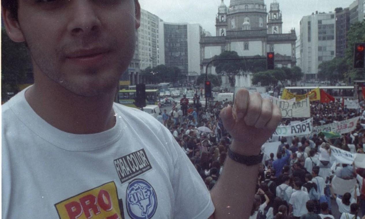 À época presidente da UNE, hoje deputado, Lindbergh Farias foi um dos líderes do movimento estudantil Foto: Agência O Globo - Chiquito Chaves - 21/8/1992