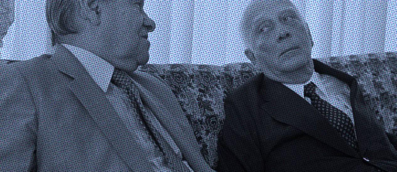 Tancredo Neves e Ulysses Guimarães em 1986 Foto: Agência O Globo / ARTE CLAUDIO DUARTE