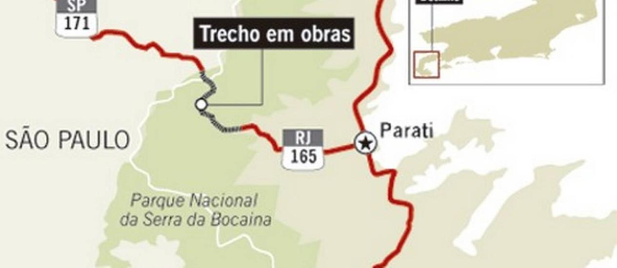 Obras na Estrada Paraty-Cunha Foto: Editoria de arte