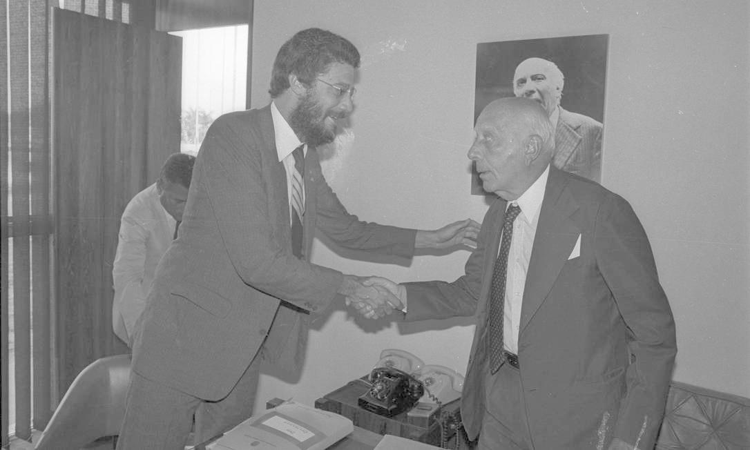 (03/03/1984) Dante de Oliveira (Deputado) e Ulysses Guimarães. Foto: Arquivo O Globo