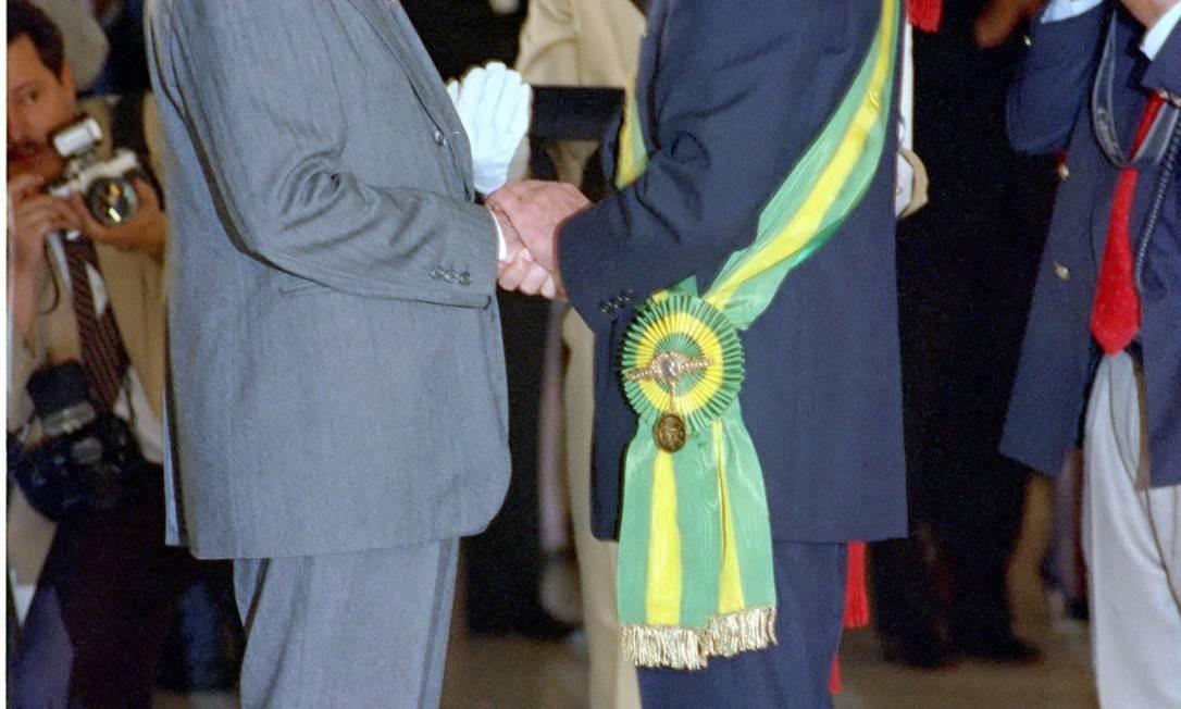 (06/09/1991) Presidente Fernando Collor de Mello na solenidade de condecoração de Ulysses Guimarães com a Ordem Nacional do Mérito Foto: Arquivo O Globo