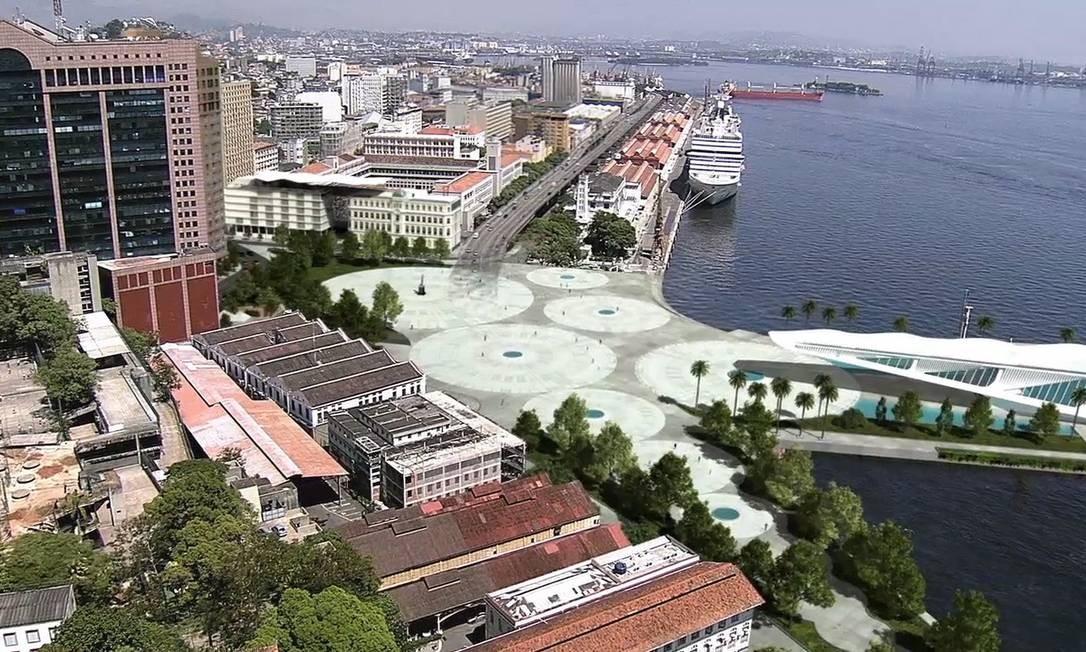 Um instantâneo de como deverá ficar a Praça Mauá após as obras de revitalização. Ao fundo, a Perimetral Foto: Reprodução