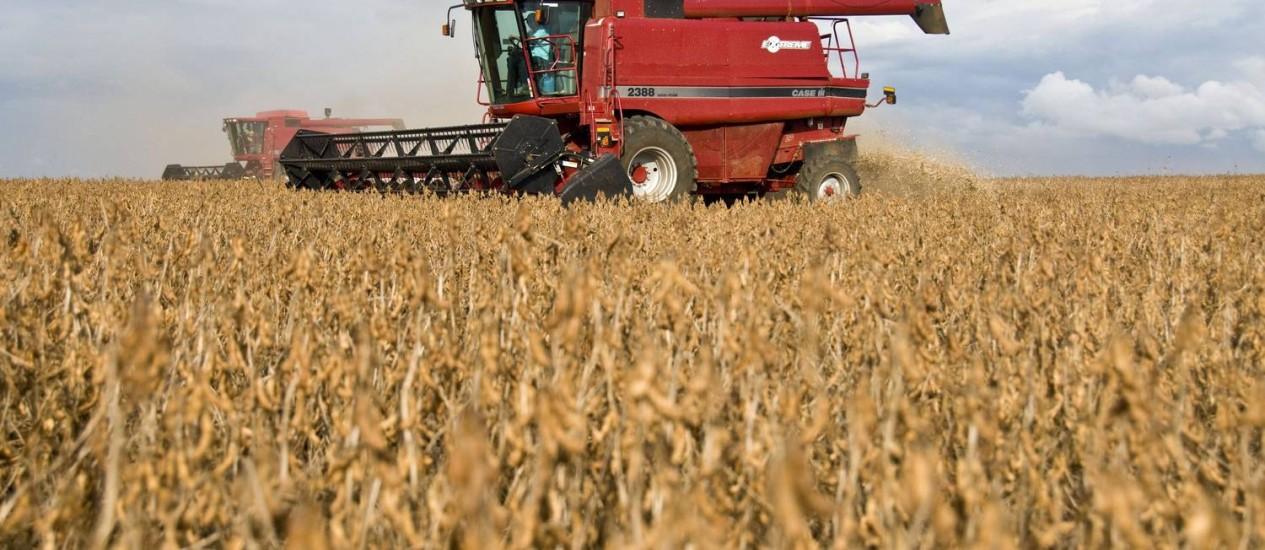Plantação de soja na Fazenda Fartura, em Campo Verde, no Mato Grosso Foto: Bloomberg News